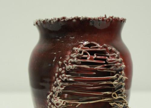 Crimson SlipStitched Vessel